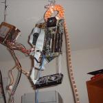 Floaty, the 43GB Fileserver, hanging from the ceiling